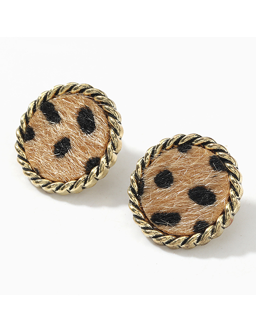 Fashion Round Brown Square Round Lace Alloy Leopard Flannel Flocking Earrings