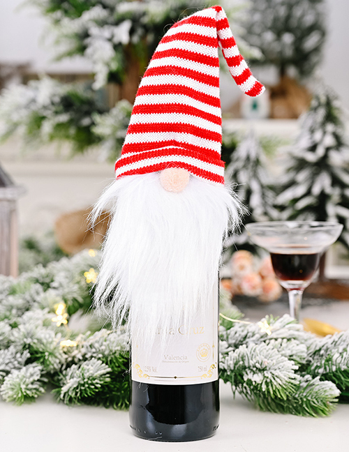 Fashion Red And White Striped Forester Wine Set Christmas Supplies Knitted Hat Forest Old Man Wine Set