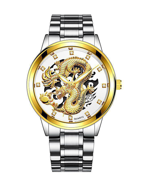 Fashion Silver Color With White Noodles Embossed Dragon-shaped Single Calendar Dial Steel Band Mens Watch