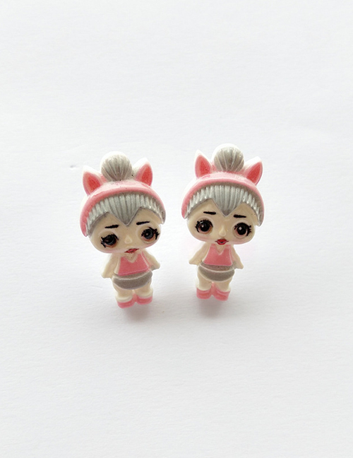 Fashion Earrings Pink + Gray Simulation Character Child Resin Alloy Earrings