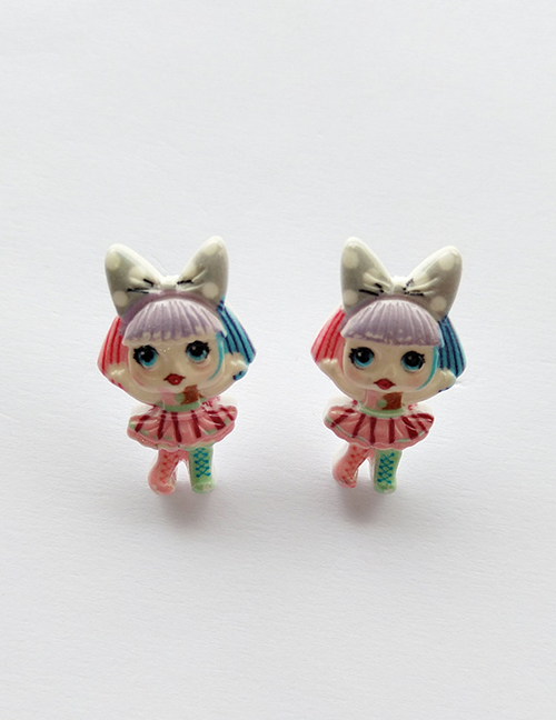 Fashion Stud Earrings Simulation Character Child Resin Alloy Earrings
