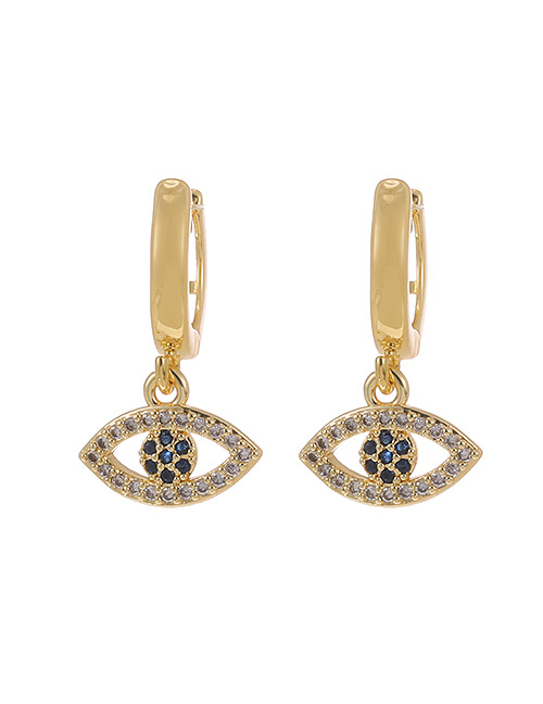 Fashion Gold Color Copper Inlaid Zircon Eye Stud Earrings