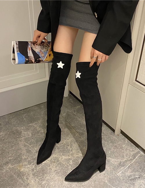 Fashion Star Models Pentagram Pointed Toe Medium Thick Heel Over The Knee Boots