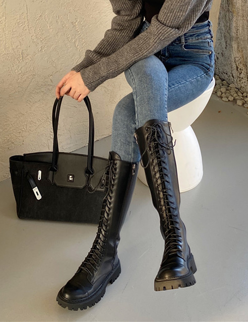 Fashion Black Platform Boots With Round Toe And Thick Heels