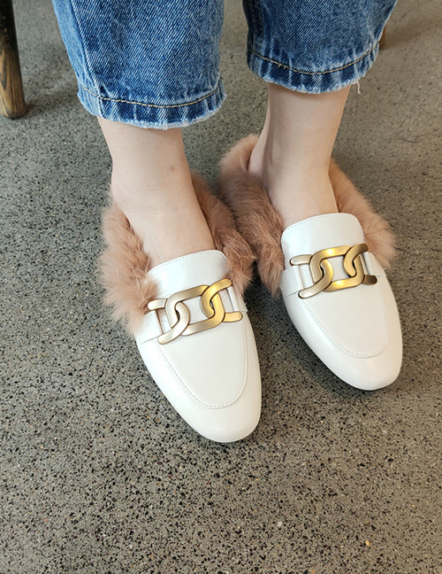 Fashion White Flat Peas Shoes With Plush And Real Rabbit Fur