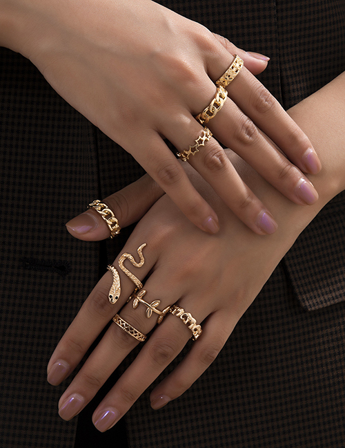 Fashion Gold Color Snake-shaped Hollow Alloy Geometric Ring Set