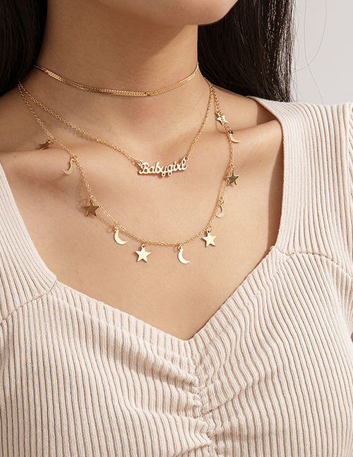 Fashion Gold Color Moon Letter Star Alloy Set Necklace