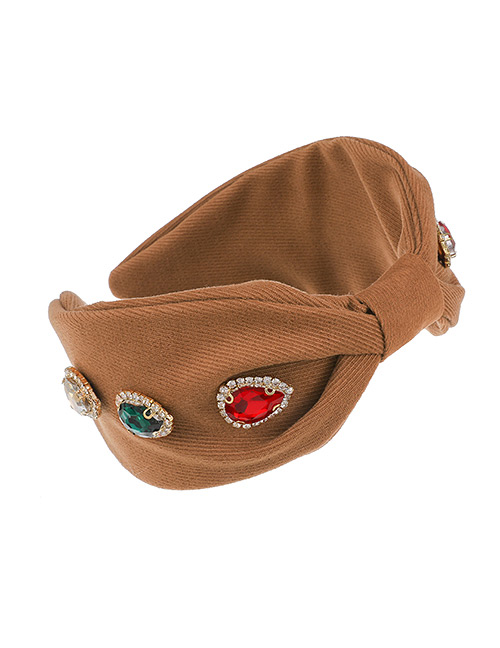 Fashion Brown Fabric Diamond-studded And Knotted Water Drop Headband