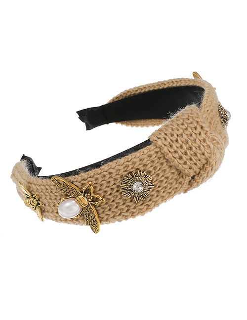Fashion White Wool Alloy Pearl Bee Knotted Headband
