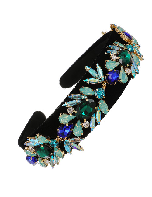 Fashion Blue Fabric Alloy Diamond-studded Water Drop Headband