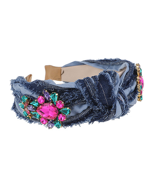 Fashion Red Denim Hair Band With Diamond And Water Drop Knot