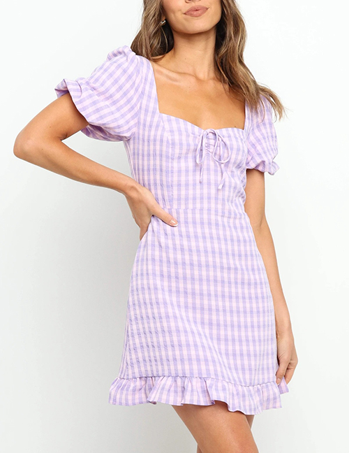 Fashion Purple Square Neck Halter Short Sleeve Printed Pleated Dress