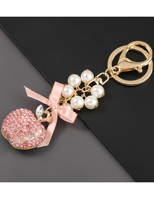 Fashion Pink Alloy Diamond Pearl String Apple Keychain Pendant