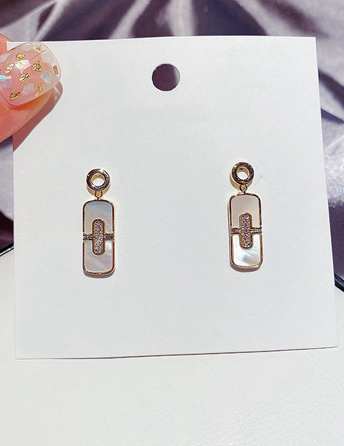 Fashion Real Gold Plated Micro-inlaid Zircon Natural Shell Geometric Earrings