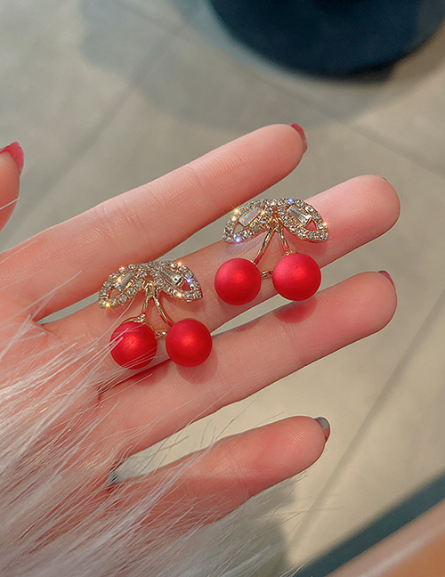 Fashion Golden Fruit Cherry Pearl And Diamond Earrings