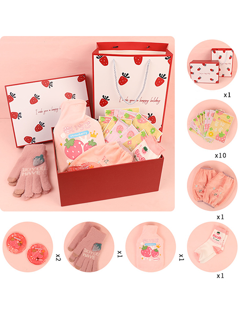 Fashion 9-piece Strawberry Set Surprise Birthday Gift With Silicone Print