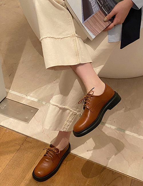 Fashion Brown Low Heel Flat Round Toe Lace-up Small Leather Shoes
