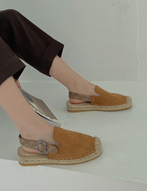 Fashion Brown Empty Flat Straw Fisherman Shoes Behind Baotou