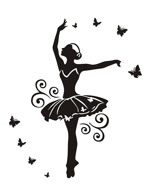 Fashion Black 35*57cm Ballet Girl Yoga Gymnastics Removable Wall Sticker