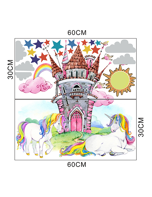 Fashion 30*60cmx2 Pieces In Bag Packaging Unicorn Castle Living Room Bedroom Children S Room Wall Sticker