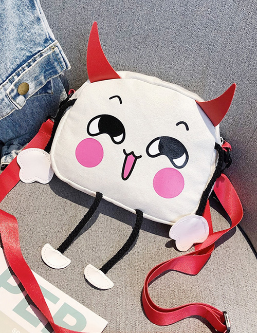 Fashion White Cat Print Canvas One Shoulder Crossbody Bag