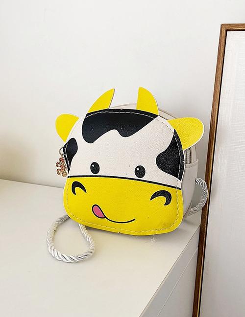Fashion Yellow Calf Print Childrens One-shoulder Messenger Bag