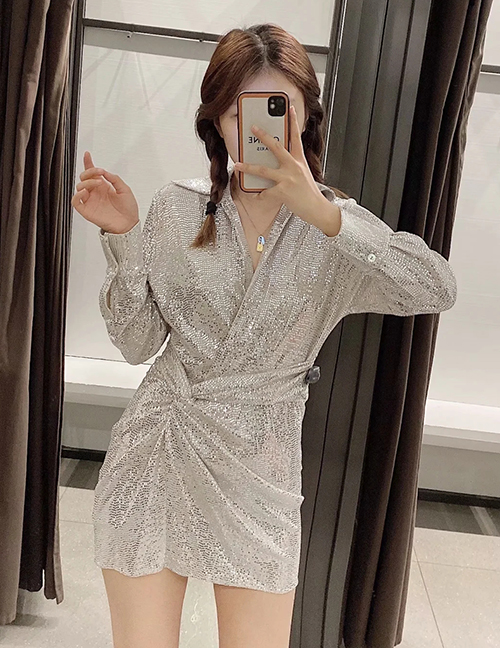 Fashion Silver Color Sequined V-neck Dress