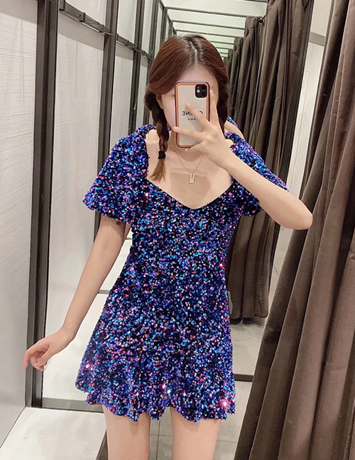 Fashion Purple Sequined Short Sleeve Dress
