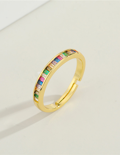 Fashion Rainbow Flat Ring Devils Eye Letter Ring With Colored Zircon