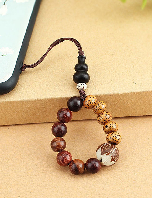 Fashion Bodhi Gourd Wood Bead Ring Rope Bodhi Lotus Beads Phone Chain