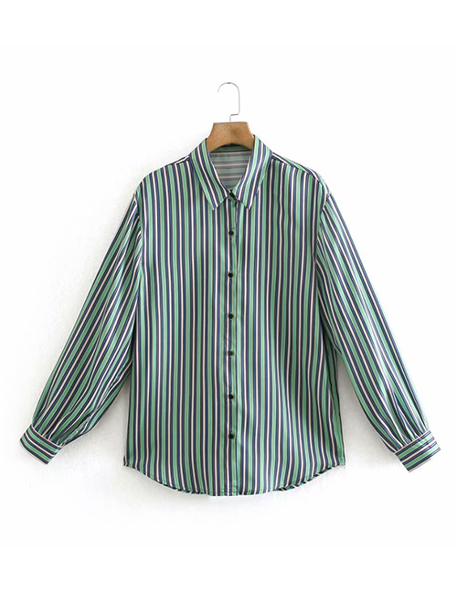 Fashion Green Striped Lapel Long-sleeved Shirt