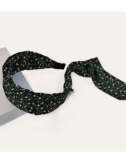 Fashion Black Small Floral Wide-brimmed Pearl Headband