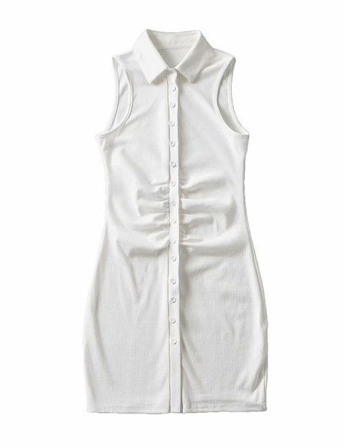 Fashion White Single-breasted Dress With Pleated Chest