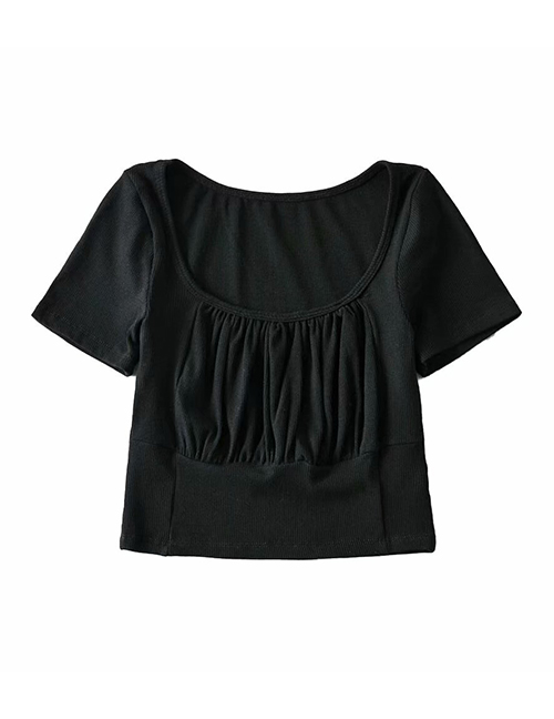 Fashion Black Solid Color Short-sleeved Slim T-shirt With Pleated Chest