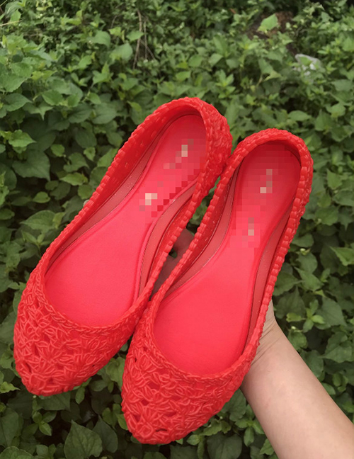 Fashion Red Bird's Nest Shallow Cutout Soft Sole Shoes