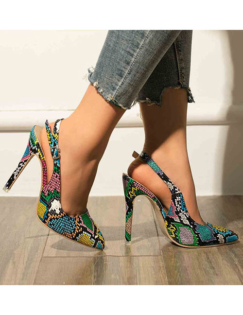 Fashion Color Snake Pattern High-heel Pointed Snake Print Stiletto Shoes