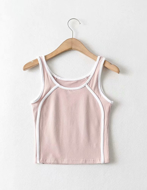 Fashion Pink Solid Color Contrast Strip Camisole