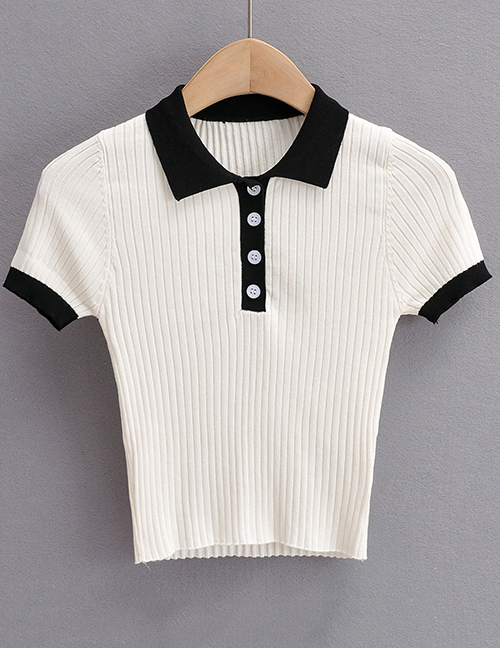 Fashion Black Colorblock Polo Neck Knitted T-shirt