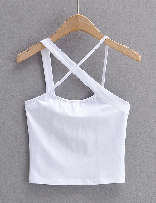 Fashion White Solid Color Irregular Cross Camisole
