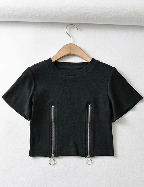 Fashion Black Pure Color Zipper Pullover Short Sleeve T-shirt