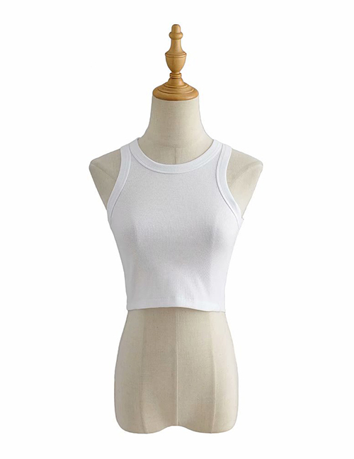 Fashion White Stretch Sleeveless Racer Top