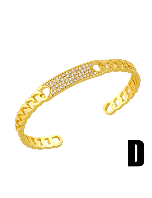 Fashion D Geometric Openwork Bracelet With Diamonds
