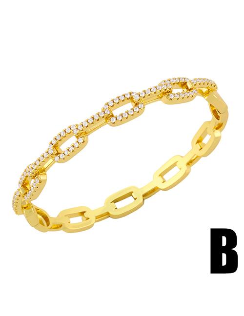 Fashion B Chain Open Copper Micro-inlaid Zircon Bracelet