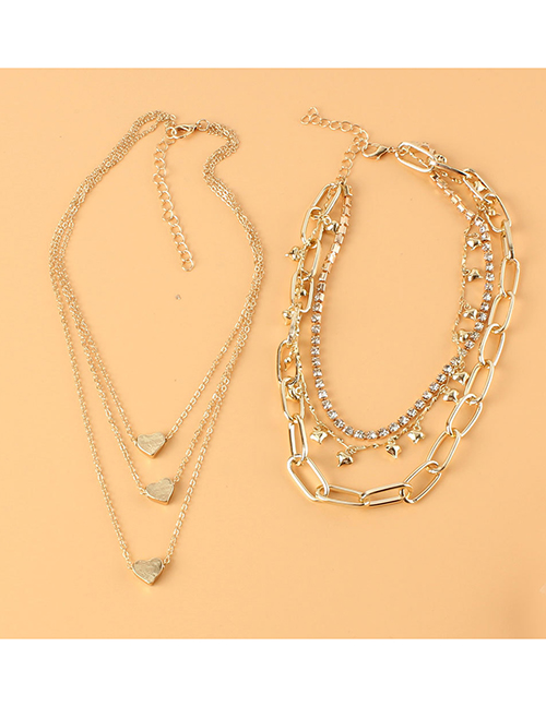 Fashion Gold Color Multi-layer Chain Alloy Love Necklace