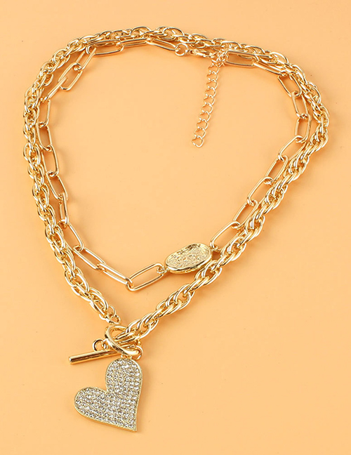 Fashion Gold Color Alloy Diamond Heart-shaped Double Necklace