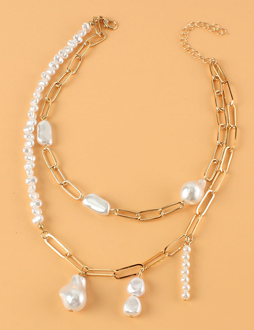 Fashion Gold Color Shaped Pearl Multilayer Necklace