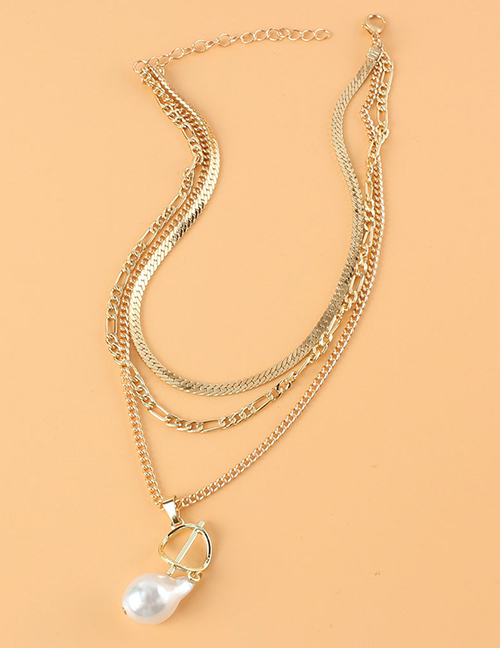 Fashion Gold Color Pearl Multilayer Necklace