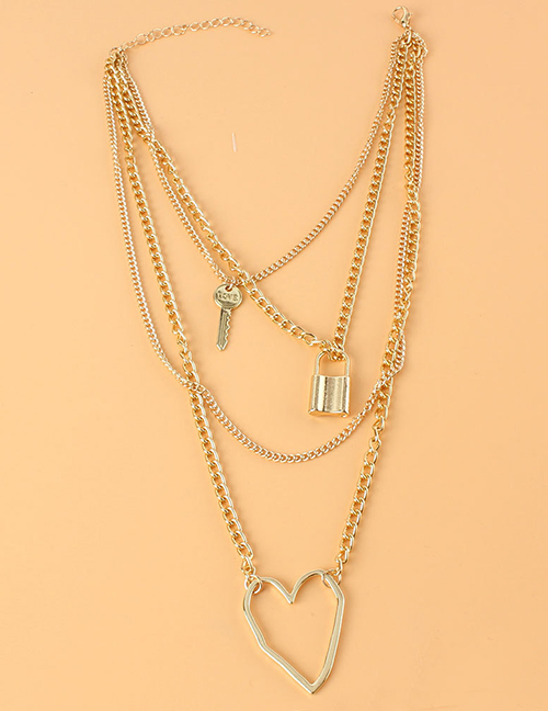 Fashion Gold Color Geometric Peach Heart Lock Shaped Multilayer Necklace