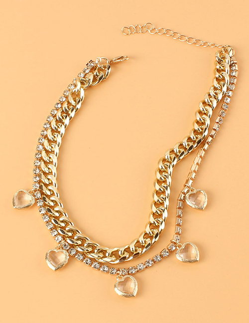 Fashion Gold Color Thick Chain Rhinestone Claw Chain Heart Necklace