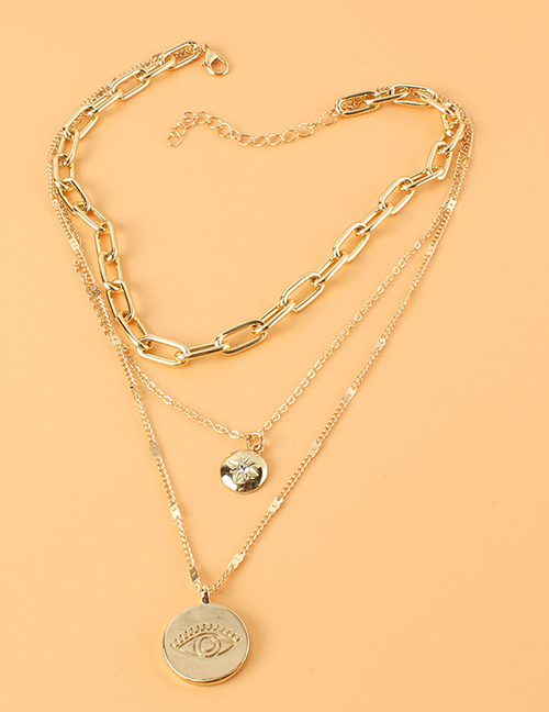 Fashion Gold Color Eye Medal Multi-layer Necklace